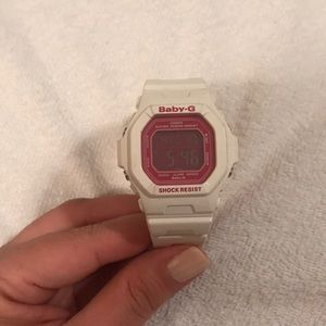 White and Pink Baby G Watch